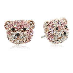 NWT betsey johnson pave bear earrings